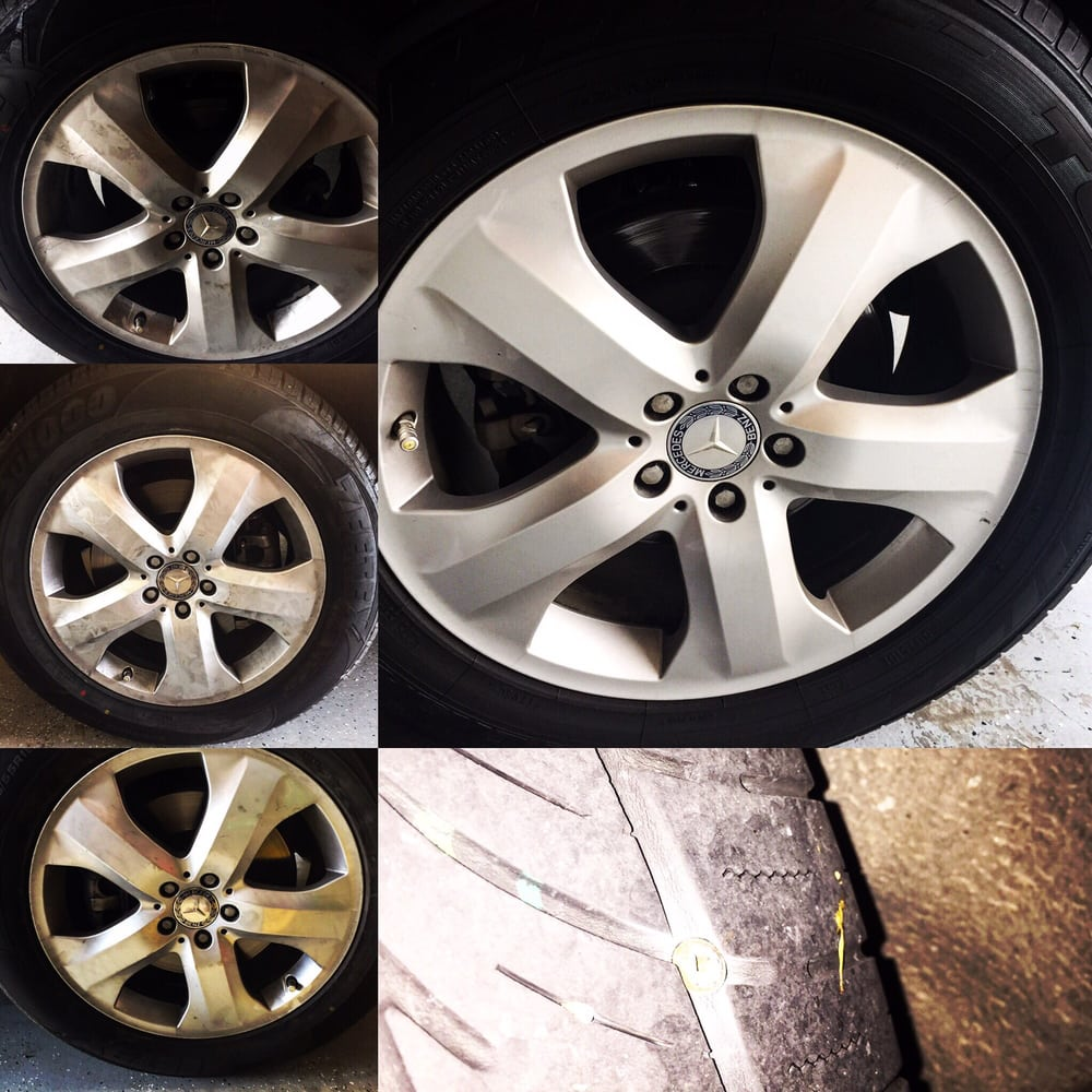My 3 New Tires Greasy Rims Wheels And The Perfectly Clean Rim With