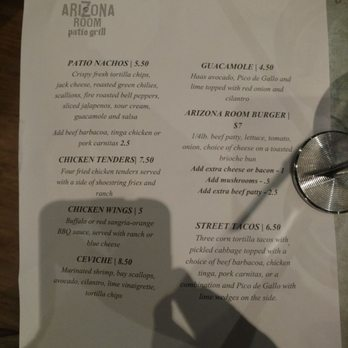 Photo Of Arizona Room Patio Grill   Scottsdale, AZ, United States. Lame Menu