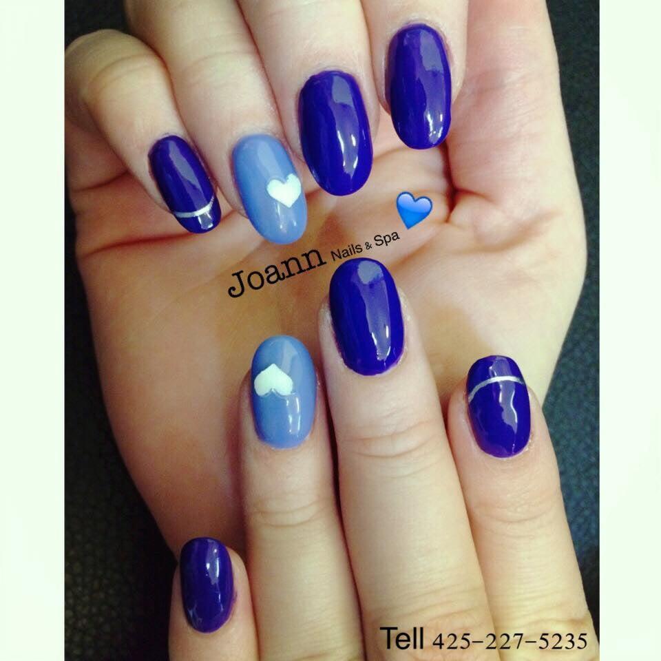 Lovely 3D Nail Art On Blue Gel