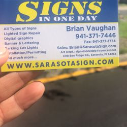 Signs In One Day Graphic Design 4118 Bee Ridge Rd Sarasota Fl