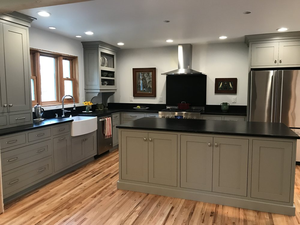 Gray Pained Maple Inset Shaker Style Cabinets With Black ...