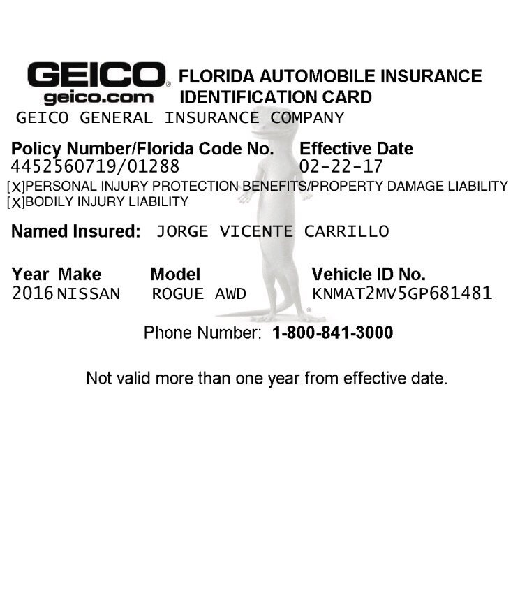 This Is My Insurance Full Cover GEICO That I Present In