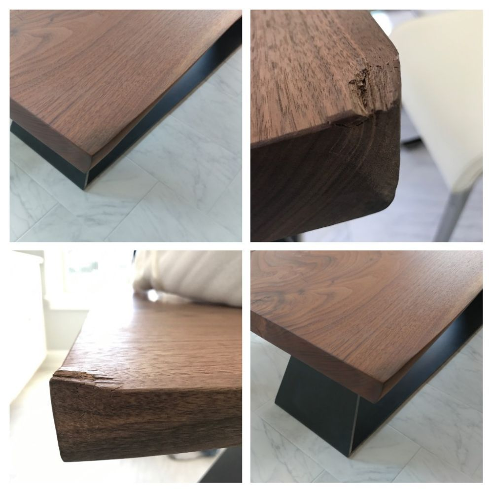 Before And After Solid Walnut Dining Room Table Corner Crushed When Dropped By Moving Company