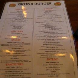 bronx burger menukort