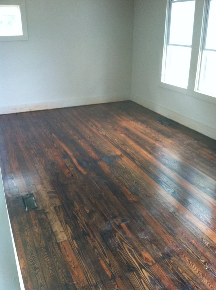 Refurbished Heart Pine Floor Sanded And Refinished With
