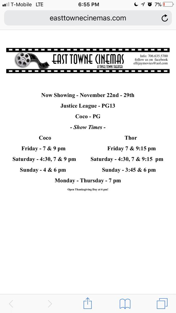 East Towne Cinemas: 941 Maddox Dr, East Ellijay, GA