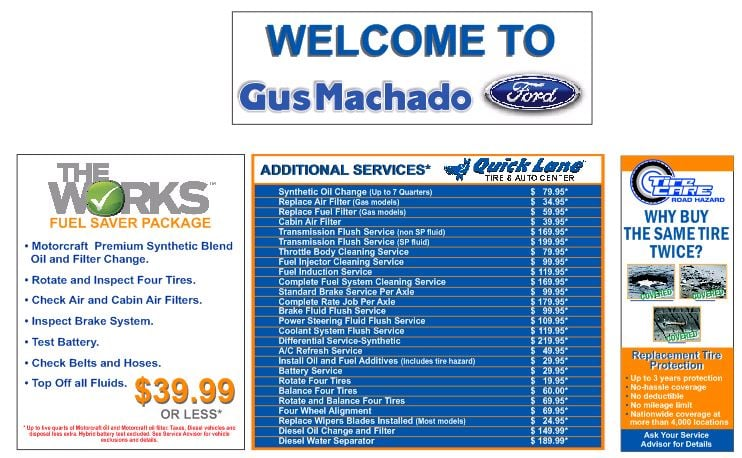 Photo of Gus Machado Ford of Hialeah - Hialeah, FL, United States. SERVICE MENU