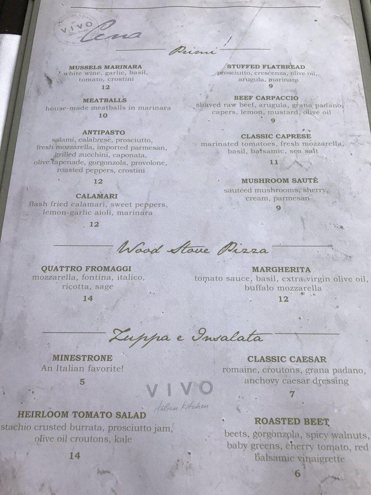 Vivo Italian Kitchen Orlando Fl Menu