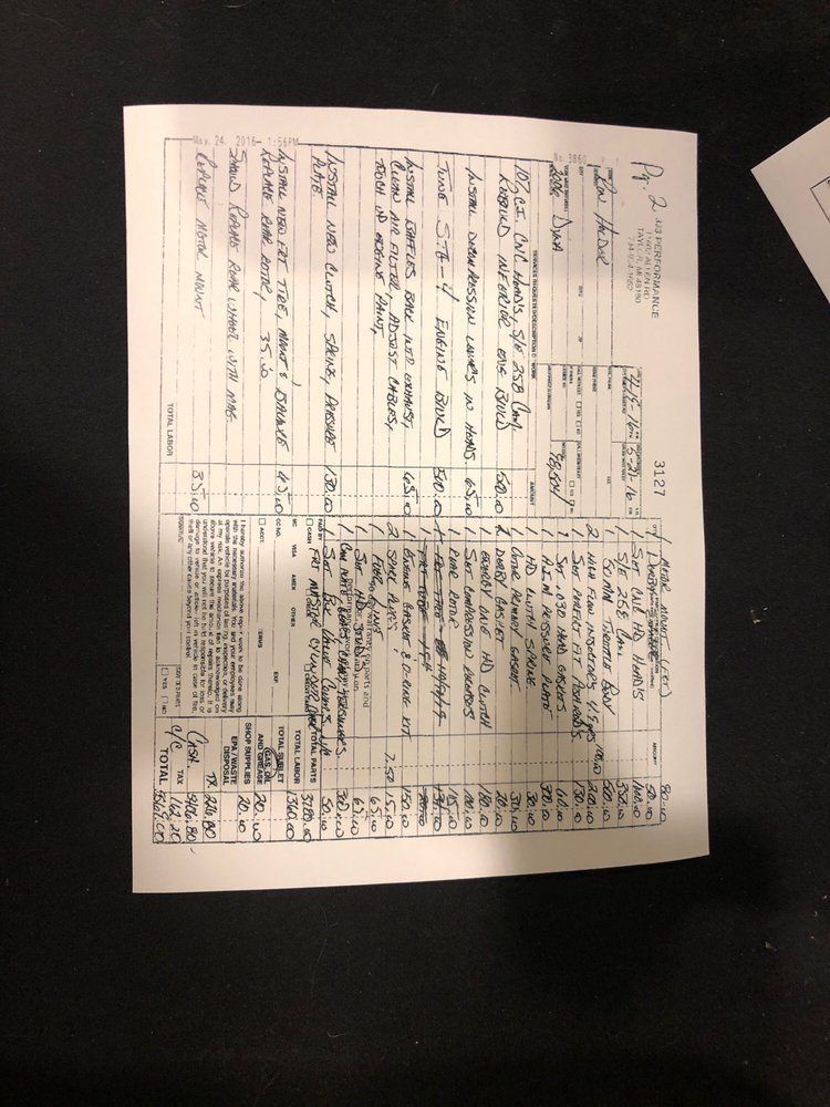 Page 2 of Ron Holder's invoice from 333 Performance - Yelp
