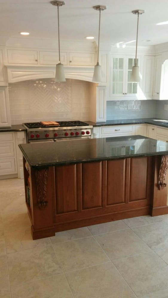 White Kitchen With Stone Slab As Back Splash   Yelp