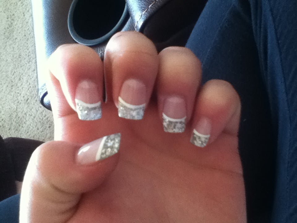 Nails I got done for prom, fake glitter tips added and a white line ...