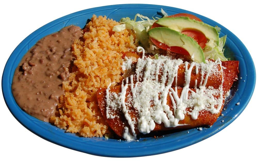 Authentic Enchiladas Rojas (3) drizzled with sour cream ...