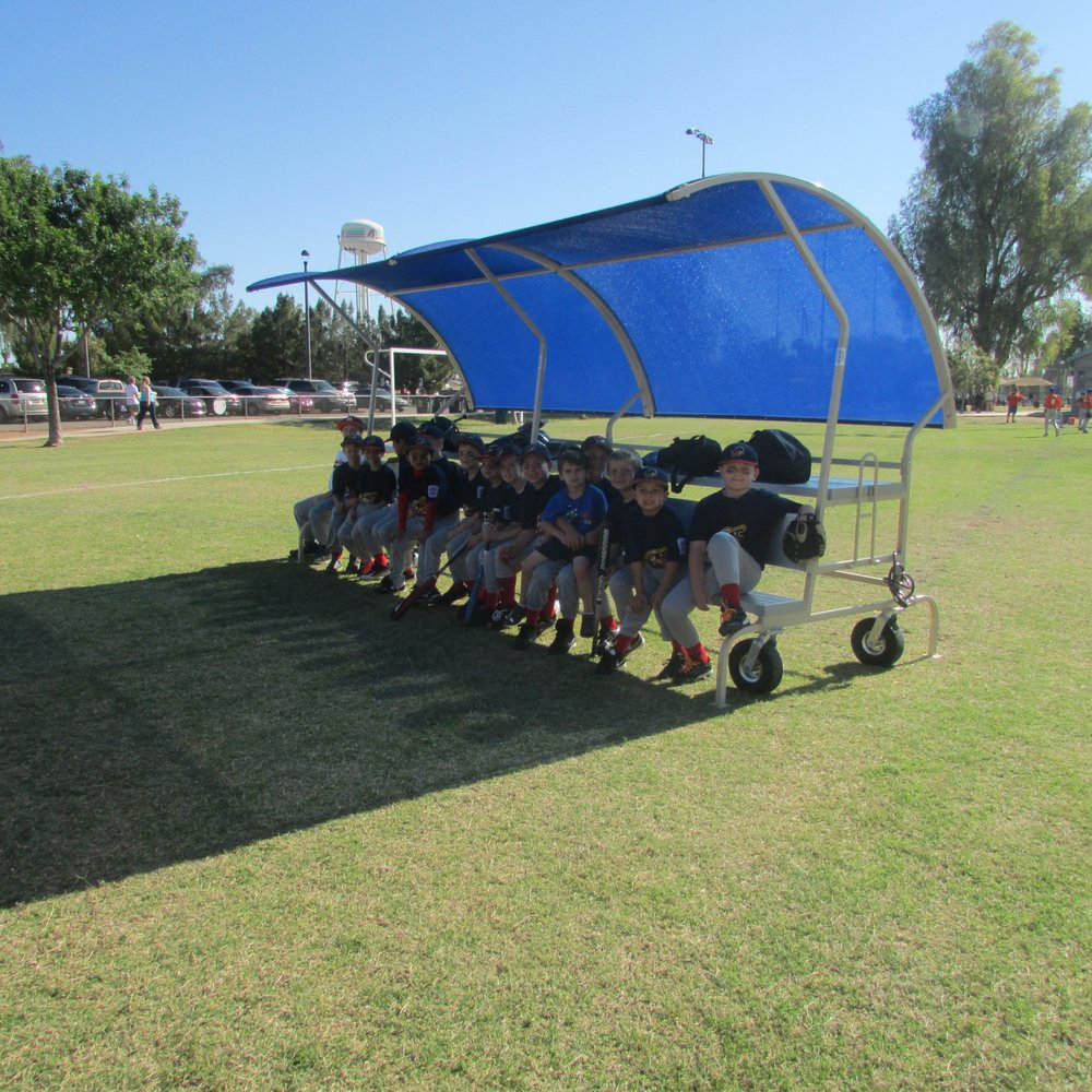 competitive price 23a6f eec12 Portable Bleacher Shades give the team shaded places to sit ...
