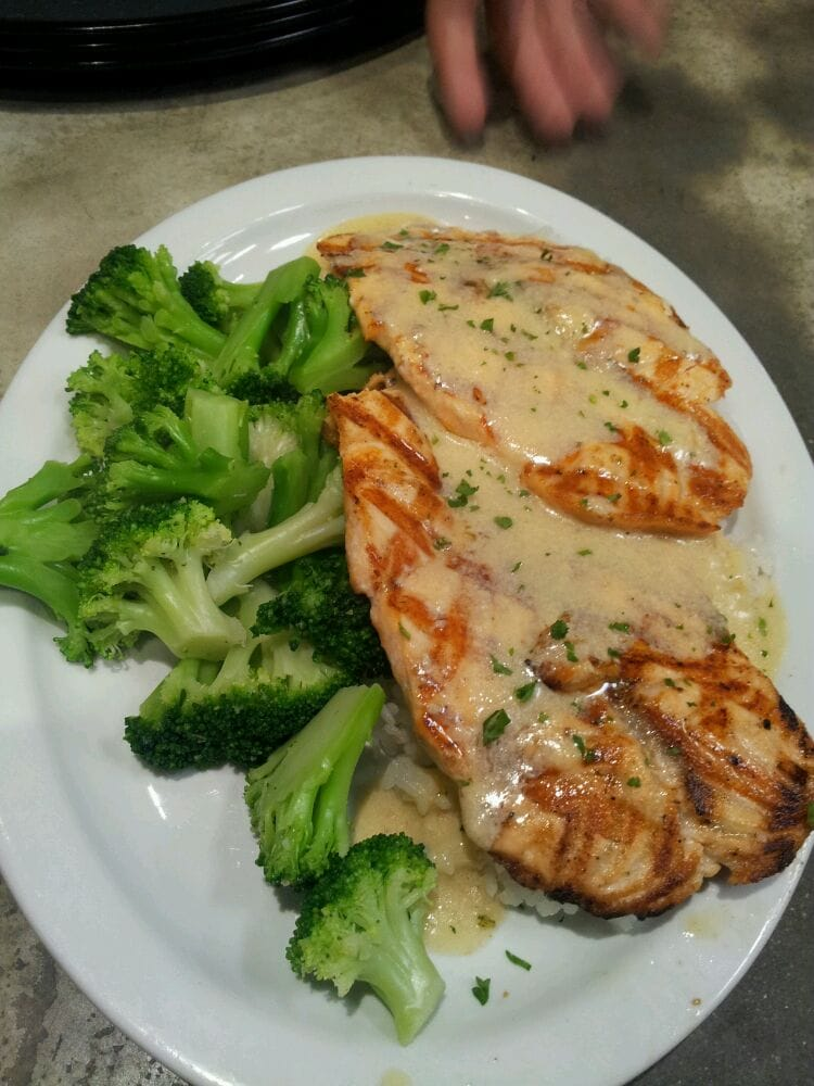 Salmon with all steam veggies yelp for Fish dish sherman oaks