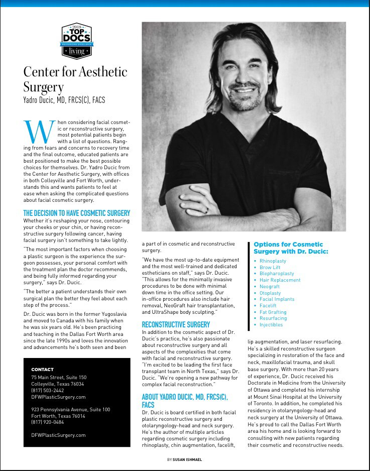Living Magazine Voted Yadro Ducic Md Top Facial Plastic Surgeon For