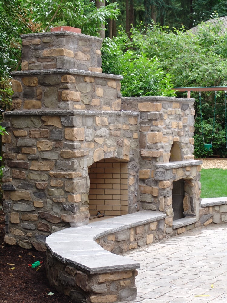 outdoor living pizza oven outdoor fireplace seating by fireplace columns patio stone. Black Bedroom Furniture Sets. Home Design Ideas