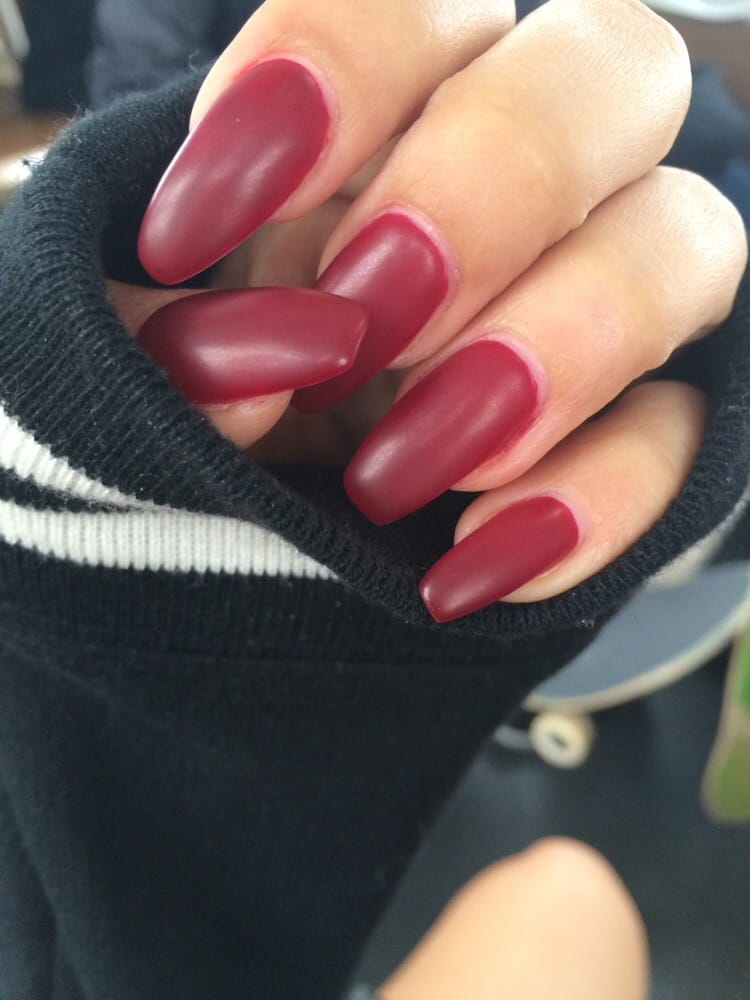 Burgundy Matte Stiletto Nails With Glossy Tips