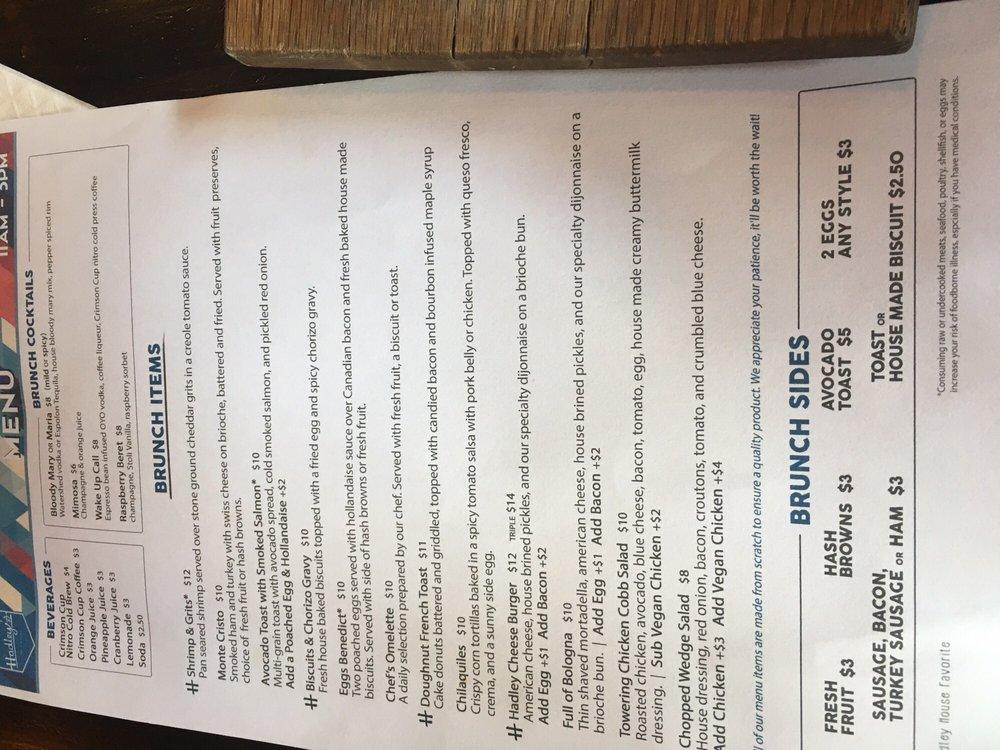 Hadley S Bar And Kitchen Menu