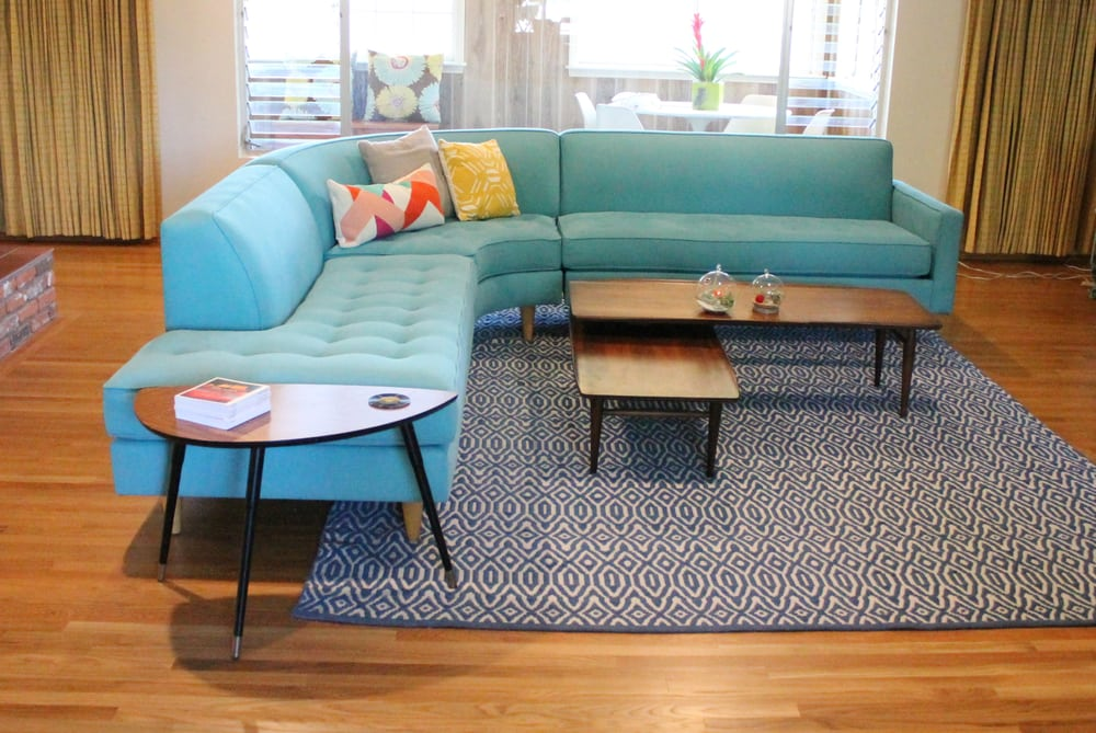 bright turquoise rounded back sectional sofa perfect for our mid rh yelp com Turquoise Sofas & Loveseats Turquoise Sectional Sofa Living Room
