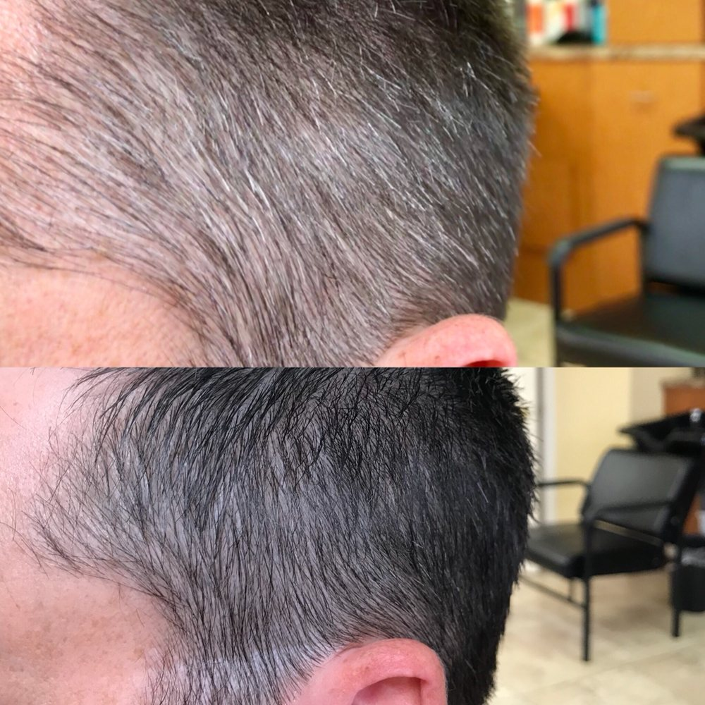 Men S Hair Color And Haircut Before And After An Easy Grey Blending
