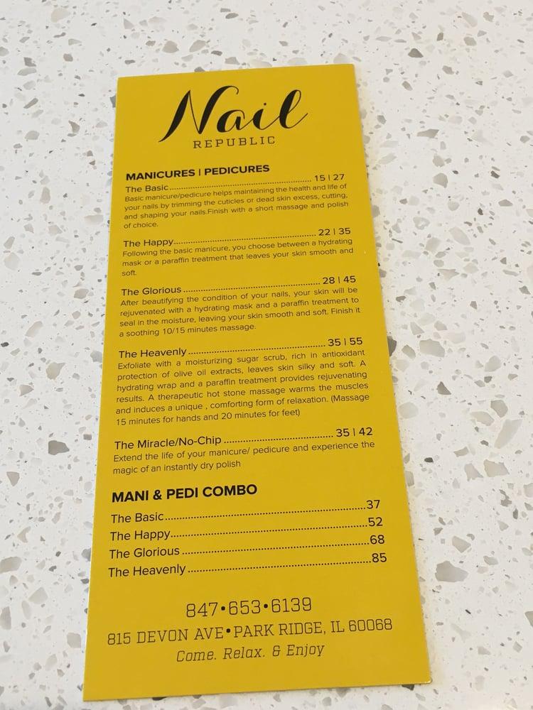 Mani & Pedi prices at Nail Republic - Yelp