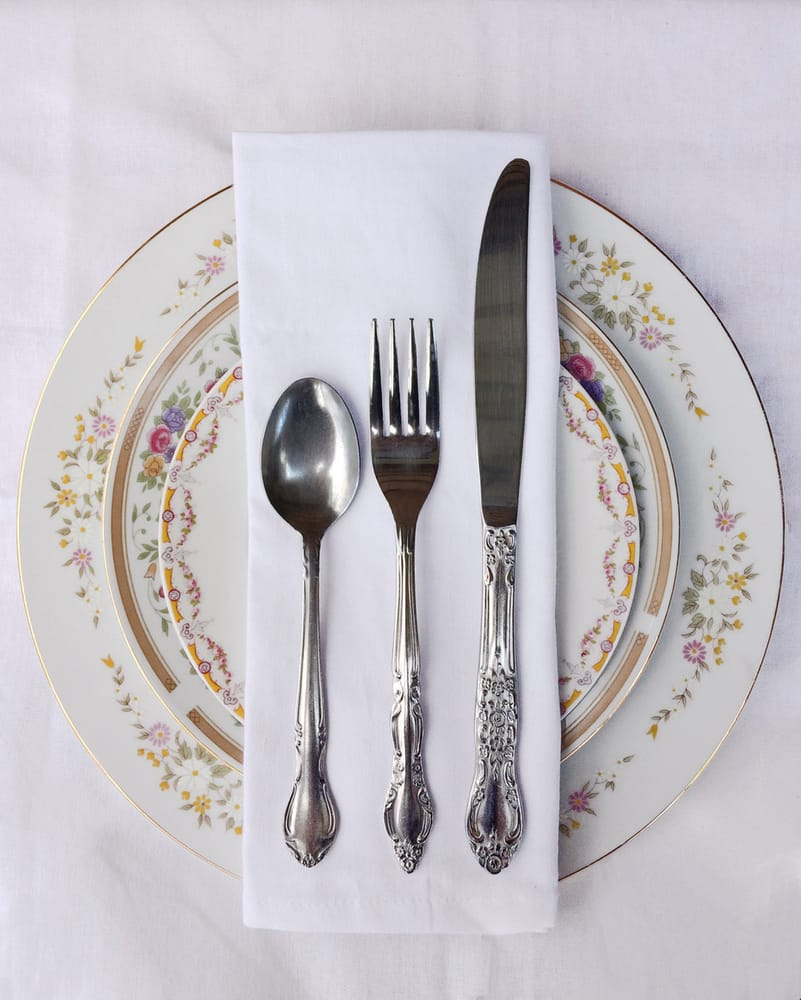 Vintage Mismatched China And Flatware For Rent.