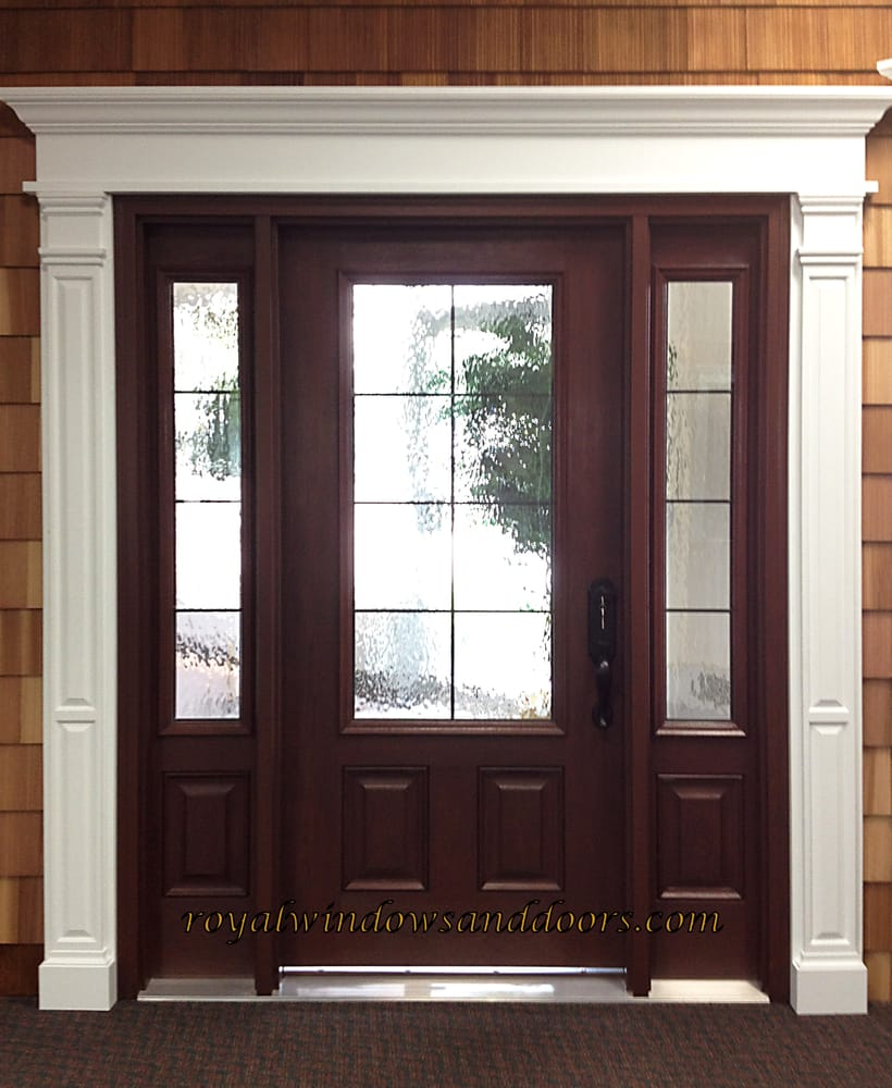 Single Royal Entry Door With 2 Side Panels Antique Glass