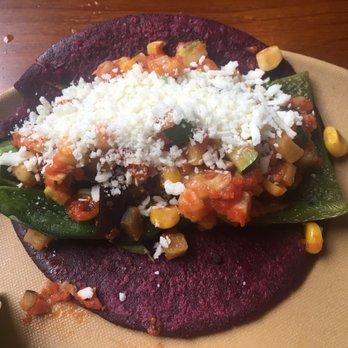 Vegetarian taco, poblano, eggplant, zucchini, corn in a hibiscus corn ...