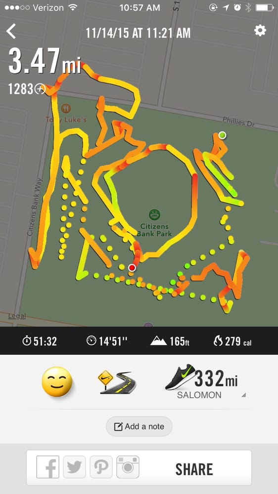 Race course distance (app paused when I stopped to do