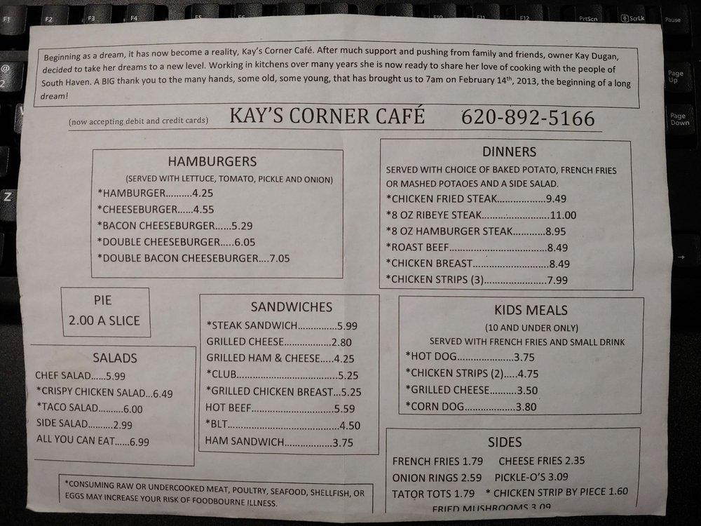 Kay's Corner Cafe: 230 S Main St, South Haven, KS