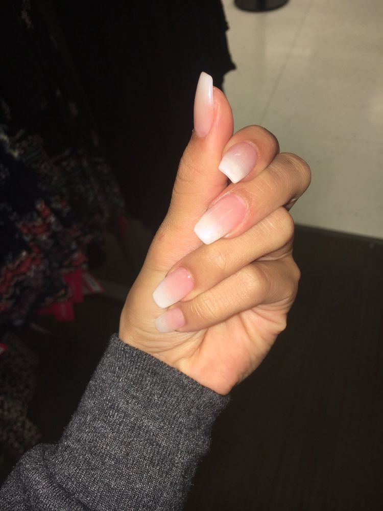 Acrylic full set, natural gel nail French tip ombré. Ask for John ...