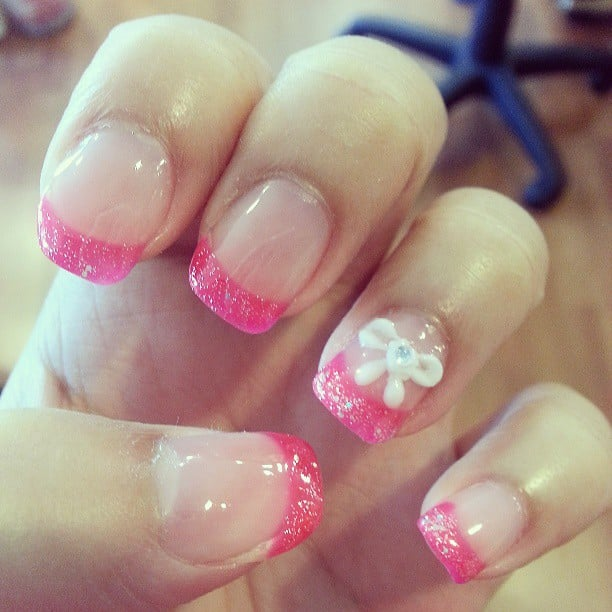 La Belle Nail Spa: Hot Pink French Tip Nails With A Cute Bow And Diamond