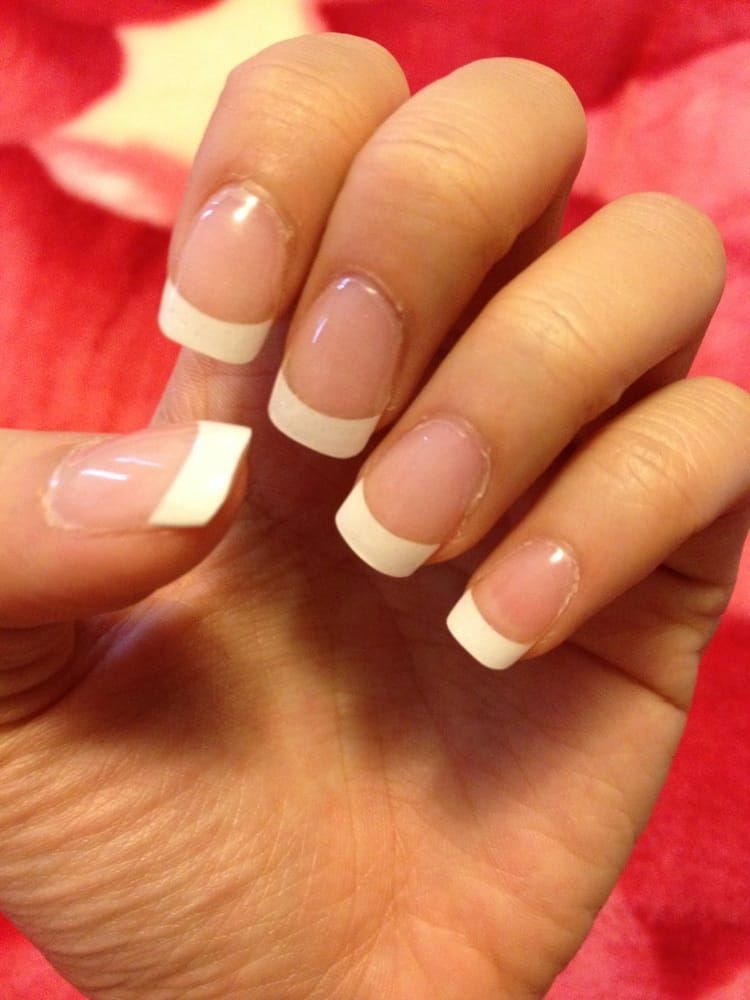 Acrylic gel nails with French tips. $25 - Yelp