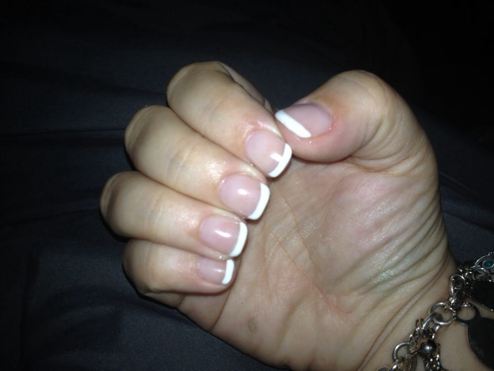 Gel French tip mani pedi! Nice thin lines just looks so clean! Just ...