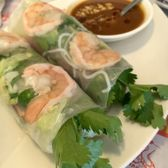 Summer rolls with peanut sauce.