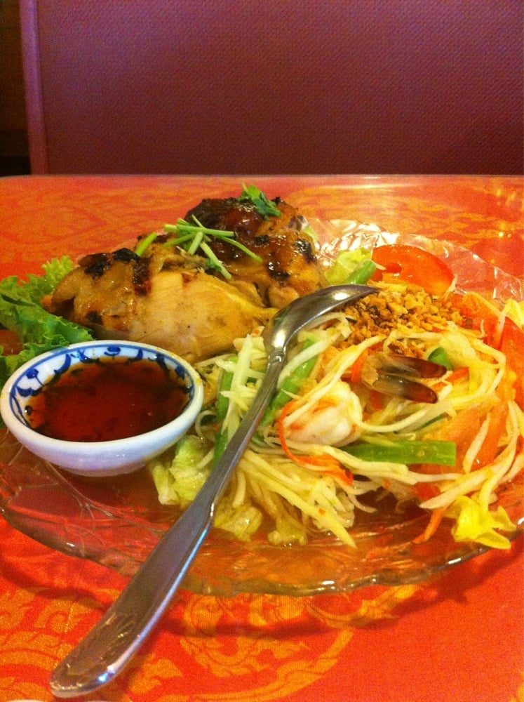 Papaya salad with bbq chicken yelp for At home thai cuisine