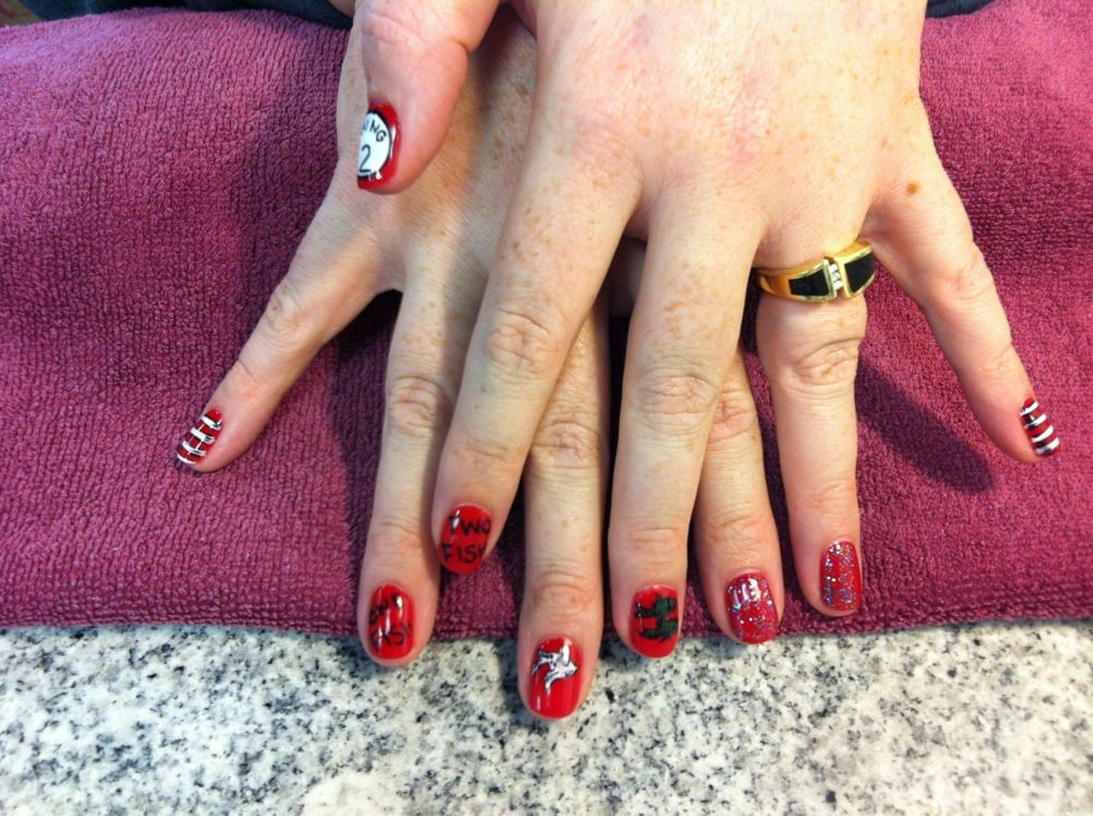 Gel Polish With Dr Seuss Designs Hand Painted Yelp