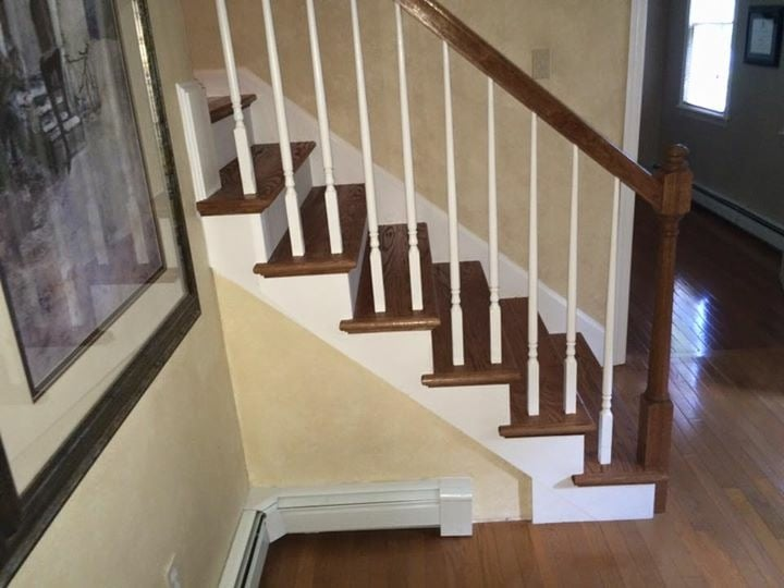 New Staircase Red Oak Treads Posts Rails All Stained