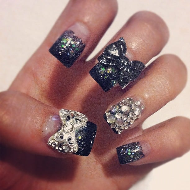 Acrylic nails. Clear base w/ black glitter gradient tips ...