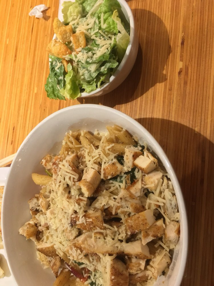 pasta fresca with extra grilled chicken and caesar salad