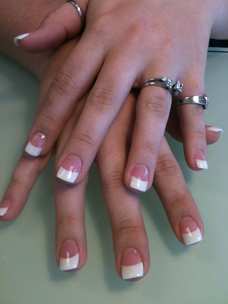 pink and white powder or called solar nails - Yelp