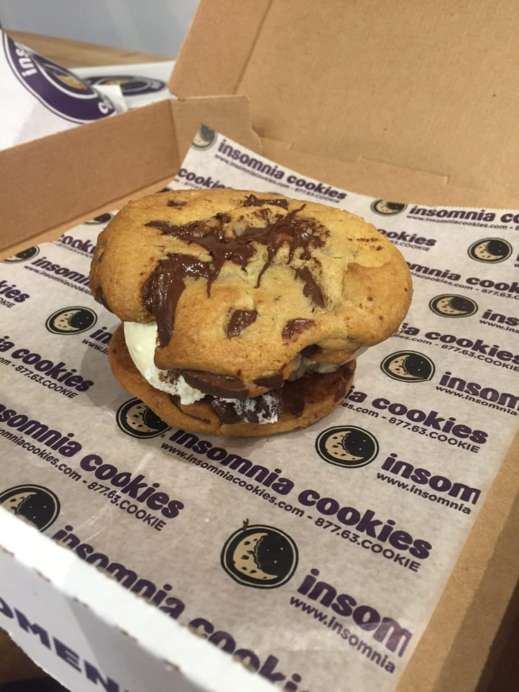 Insomnia Cookies - Atlanta, GA, United States. My fav thing to get here: chocolate chip cookie sandwich with moose track ice cream.