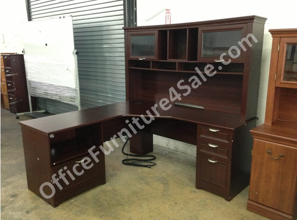 magellan performance l desk with hutch in classic cherry for only 72 w x 72 d yelp. Black Bedroom Furniture Sets. Home Design Ideas