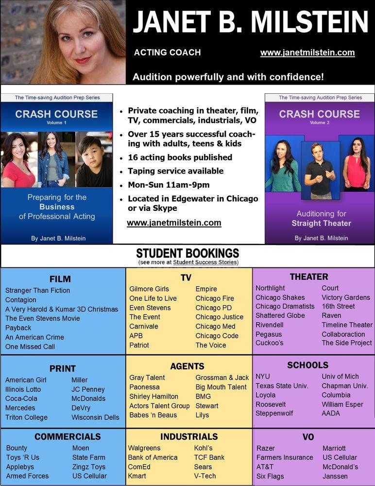 Janet B Milstein Acting Coach: Chicago, IL