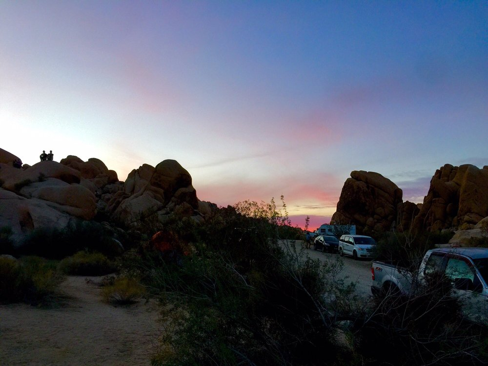 Natural rock formations and sunset at Indian Rock