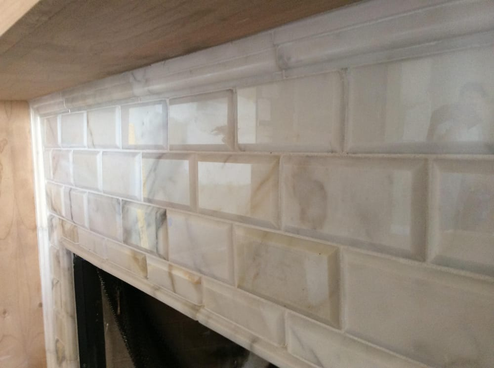 Stone And Tile Works : Bevel edge calacatta marble fireplace yelp