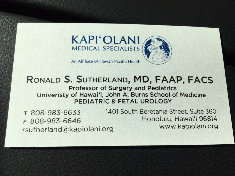 Ronald Sutherland, MD - Pediatricians - 1401 S Beretania St ...