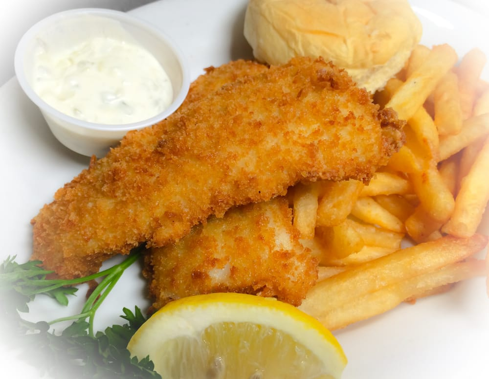 Fish fry hand breaded cod coleslaw french fries or for Fish fry near me