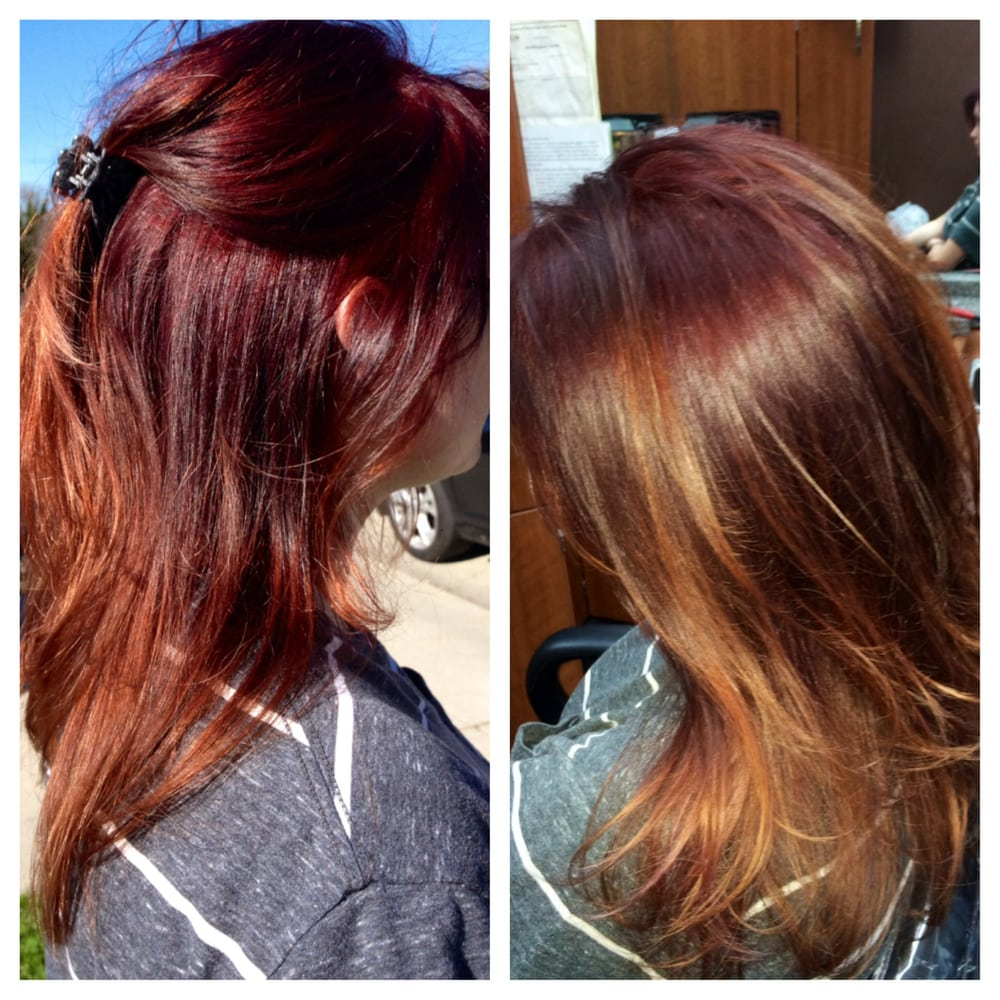 Deep Redviolet To Natural Redhead Ombré Same Color Indoor And