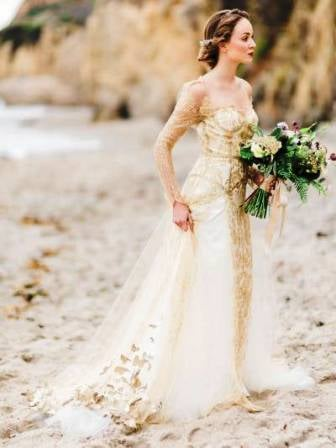 Isolde: Our gold, antique Chantilly lace wedding gown on a beach in ...